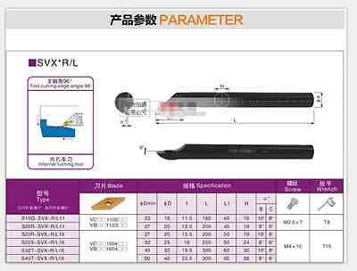 S20R-SVXBL16 20×200mm Internal FOR VBGT VBMT1604 Inner hole tool 96 degrees