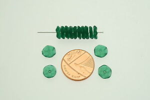 100 Green Indian Glass Floral Disc Beads; Size 8mm