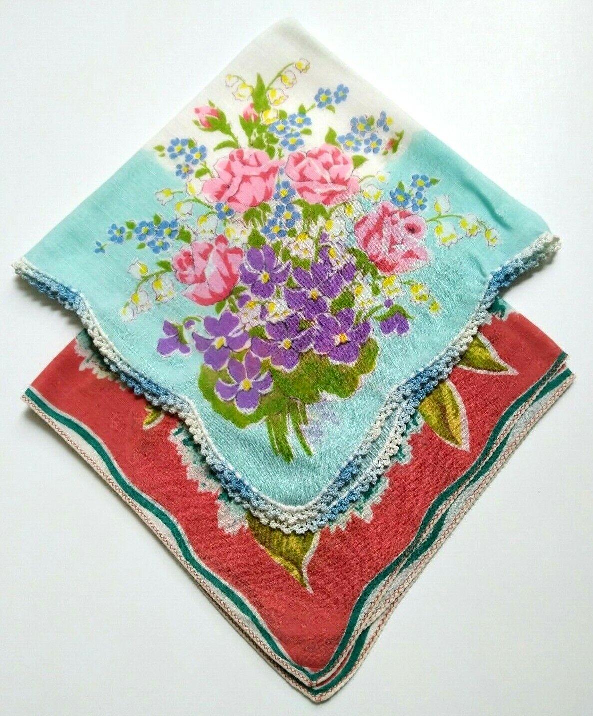 Set of 2 Vintage 1940/1950 Handkerchief -Printed Flowers Crochet pink blue red