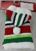 Christmas Hooded Striped Sweater Pet Dog Coat Size Xxsmall 6-8 In
