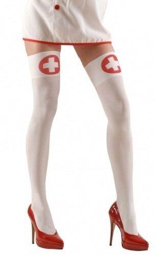 bianco infermiera Calze donna autoreggenti coscia alti xl taglie forti Costume