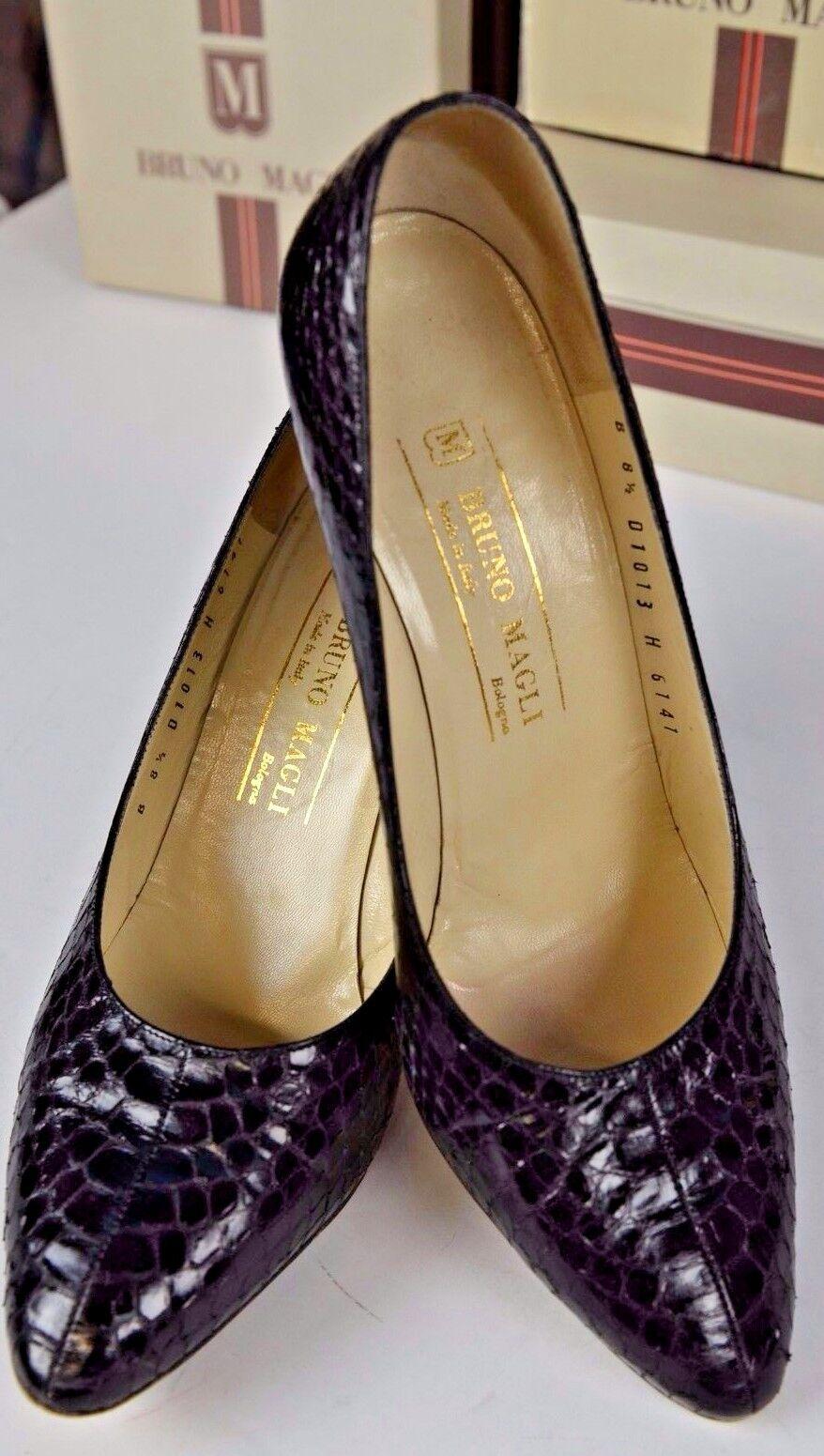 Bruno Magli High Heel Snake Skin Print Leather Heels Size 8.5 Career Black Cute