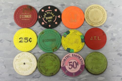 12 ASSORTED POKER CHIPS USED