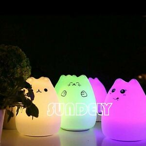 USB LED Lamp Animal Silicone Cat Night Light Changing Desk Sensitive ... a79b97d31a