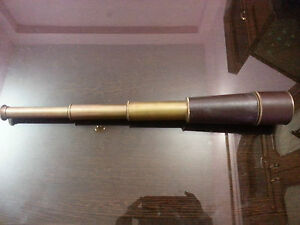 Nautical-Telescope-18-034-W-Black-Leather-Sheathed-Spyglass-Brass-Antique-Telescope