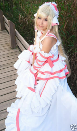 Chobits Chii Cosplay white pink Lolita Gorgeous Costume//Dress New @@109