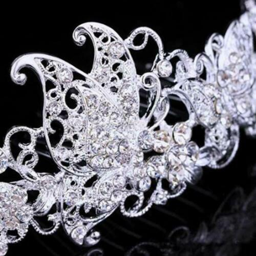 Tiara rhinestone butterfly hair comb bride alloy silver plated hair Jewellery
