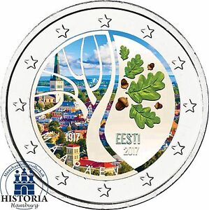 Estland-100-Jahre-Unabhaengigkeit-2-Euro-Gedenkmuenze-2017-bankfrisch-in-Farbe