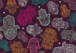 A1-Hamsa-Hand-Poster-Art-Print-60-x-90cm-180gsm-Purple-Pattern-Fun-Gift-15412