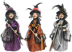 """16"""" Tall Standing Fabric Witch Dolls Statues Halloween Figurine Decor Set of 3"""