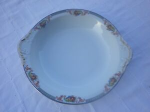 Grand-plat-Creux-en-Porcelaine-Jolie-frise-a-decor-de-fleurs-amp-de-fruits