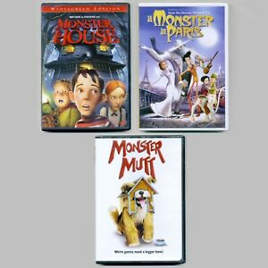 3-PG-kids-movies-Monster-House-Monster-in-Paris-Mutt-new-DVDs-lot-Halloween