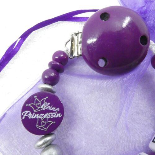 silber Geburt Schnullerkette mit Namen kleine Prinzessin Mädchen lila