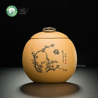 Yellow Plum Blossom Handmade Yixing Zisha Clay Tea Caddy 500ml 16.9 oz