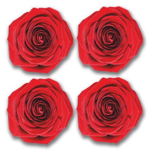4 x 10cm Vinyl Stickers Flowers Red Rose Laptop Bin Box Mirror Car Surf VW #6285