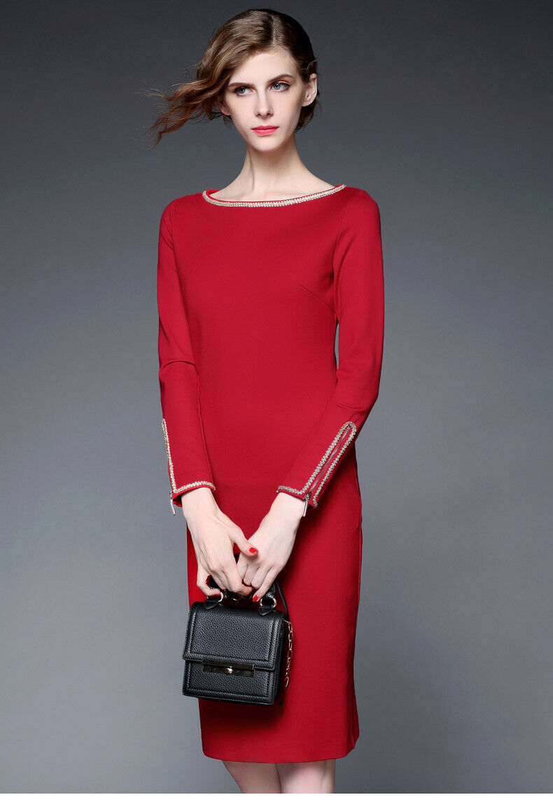 2019 new Fashion damen rot Slim fit Elegant Lady Party Dress ZG9