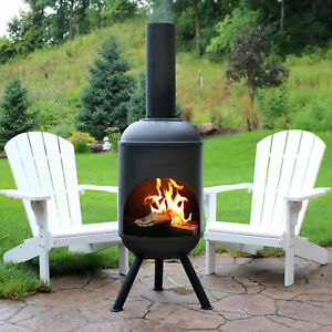 """Sunnydaze 60"""" Chiminea Outdoor Wood-Burning Fire Pit Black Steel with Fire Poker"""