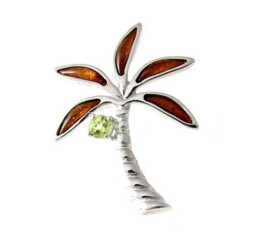 GENUINE PERIDOT INLAY HAWAIIAN KOA WOOD PALM TREE SLIDE PENDANT SILVER 925 20MM