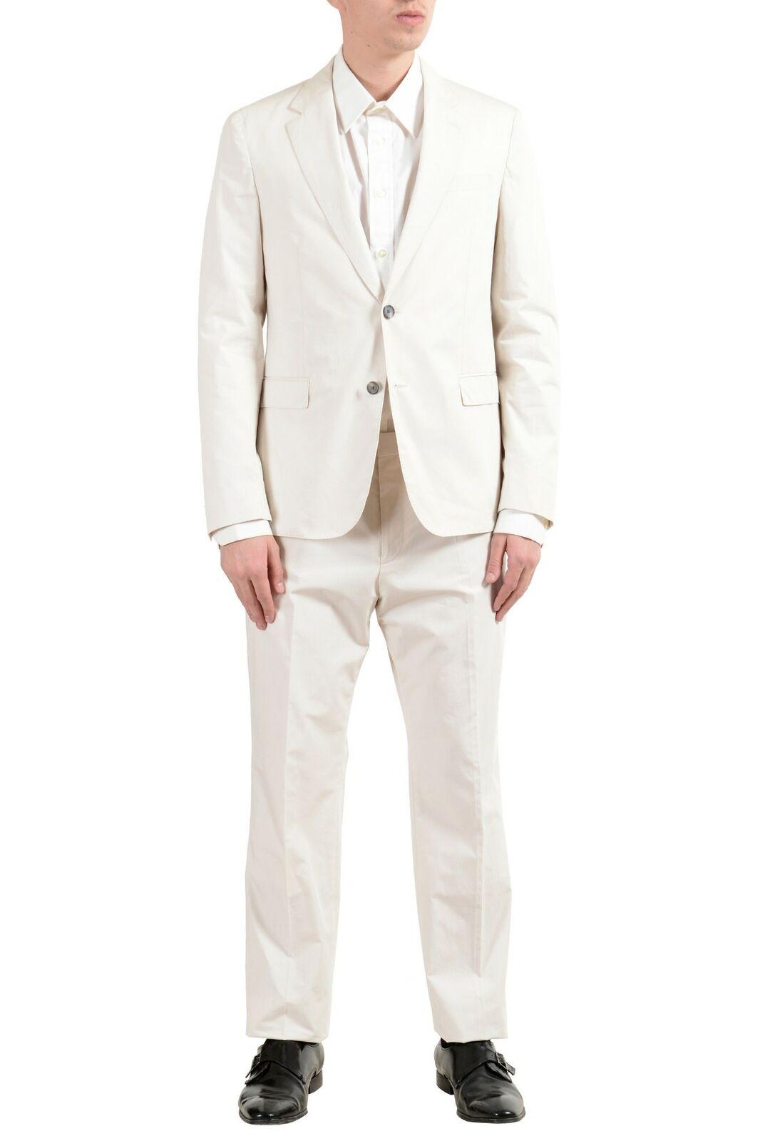 Hugo Boss  Nylen1 Pery1  Men's Off White Slim Two Button Suit