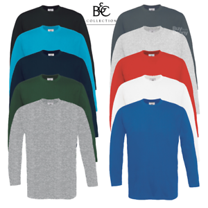 B-amp-C-MEN-039-S-LONG-SLEEVE-T-SHIRT-PLAIN-TOP-CASUAL-100-SOFT-COTTON-PRE-SHRUNK-S-3XL