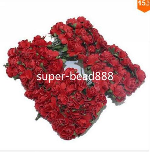 144pcs chef Unique Fleur Artificielle Bouquet Papier Rose À faire soi-même pour scrapbooking