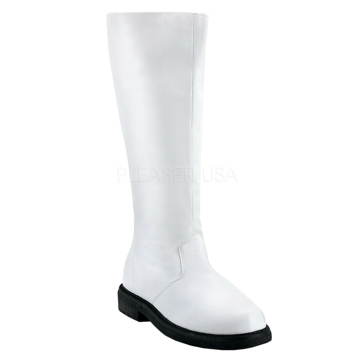 Funtasma Captain White Knee High 1  Heel Costume Cosplay Trooper Boots Men 8-14