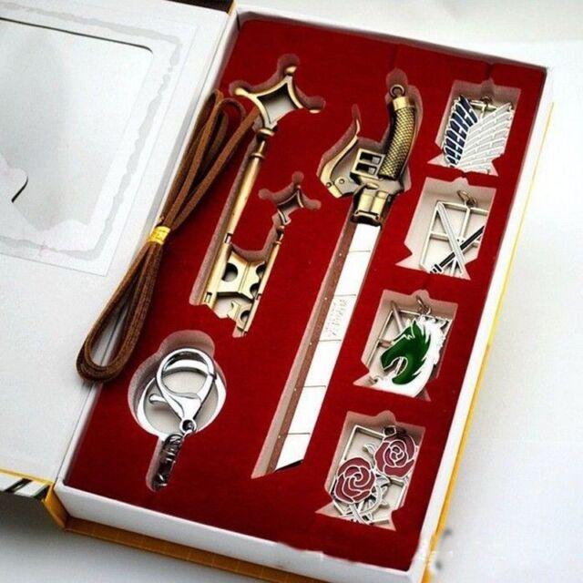 9PCS Anime Attack on Titan Shingeki no Kyojin Badge, Key, Knife Pin Set Box Gift