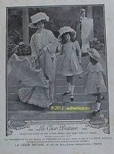 PUBLICITE LA COUR BATAVE TROUSSEAUX TOILETTES D'ETE DE 1909 FRENCH AD ART DECO