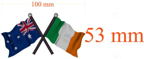100mm H by 53 mm W gloss laminated 5X AUSTRALIA IRISH FLAG  Decal size APR