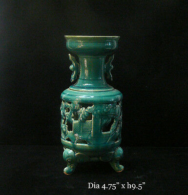 Chinese Thin Ceramic Green Glaze Motif Vase cs294D