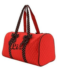 98d64b789a83 Image is loading Personalized-Monogrammed-Large-Quilted-Duffle-Bag -Dance-Maroon-