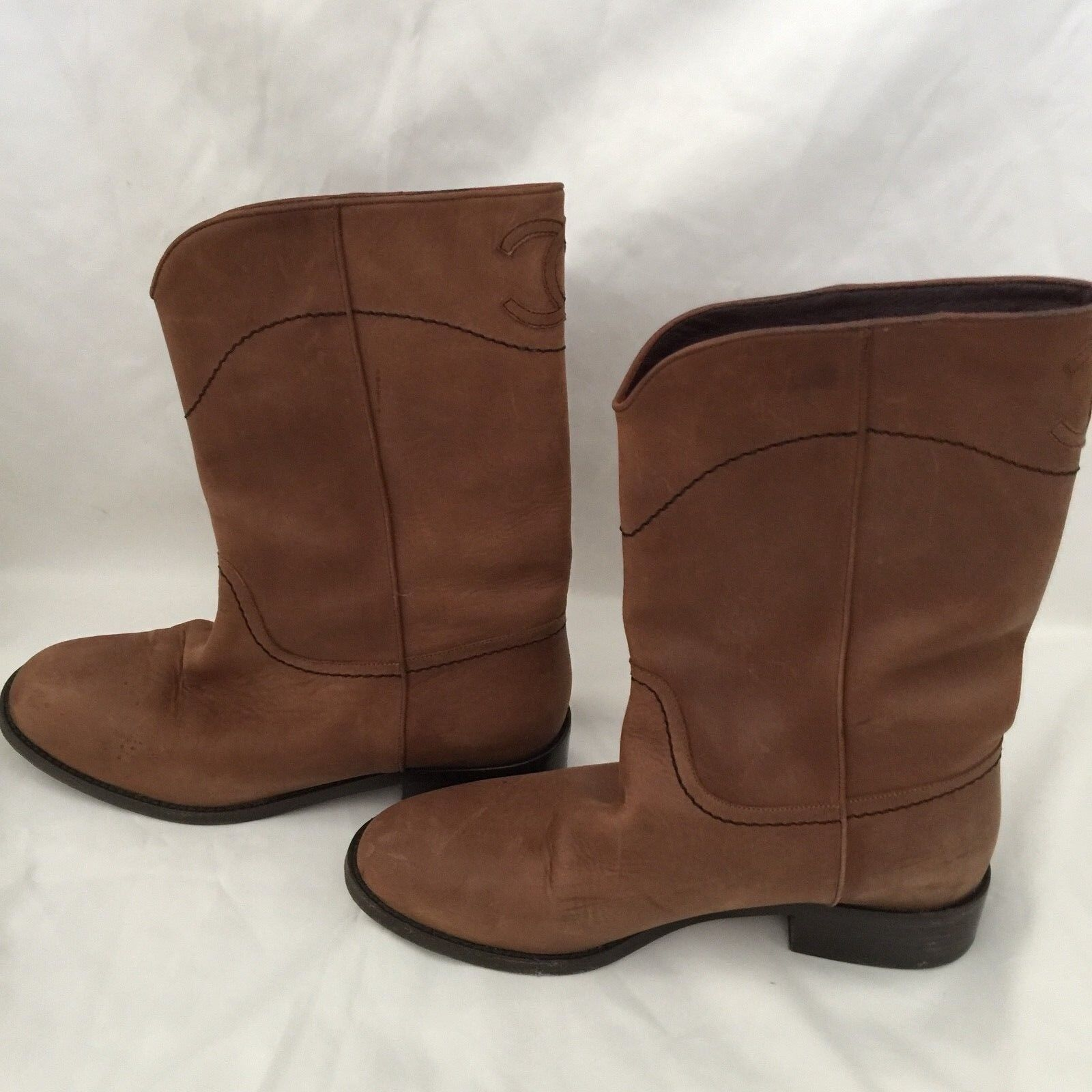 CHANEL CC RIDING BOOT SHORT BROWN LEATHER 13C RARE CLASSIC SIZE 38