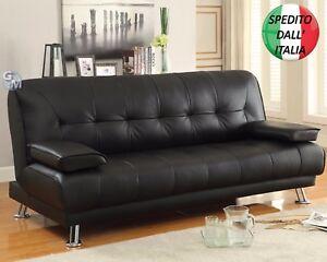 Divano letto in ecopelle similpelle tessuto reclinabile 2 cuscini 3 posti 181 cm ebay - Divano ecopelle 2 posti ...