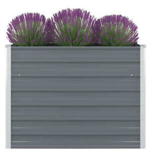 vidaXL Garden Planter 160x80x44cm Galvanised Steel Silver Flower Raised Bed