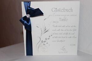 Hardcover-Gaestebuch-zur-Taufe-Taufgeschenk-Taufbuch-weiss-marineblau