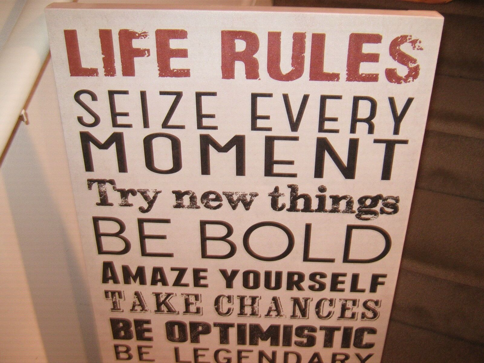 "Canvas Print, ""Life Rules"" Theme"