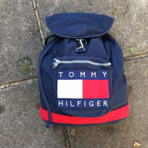 Vintage Tommy Hilfiger Backpack Tote Bag 1990s Big