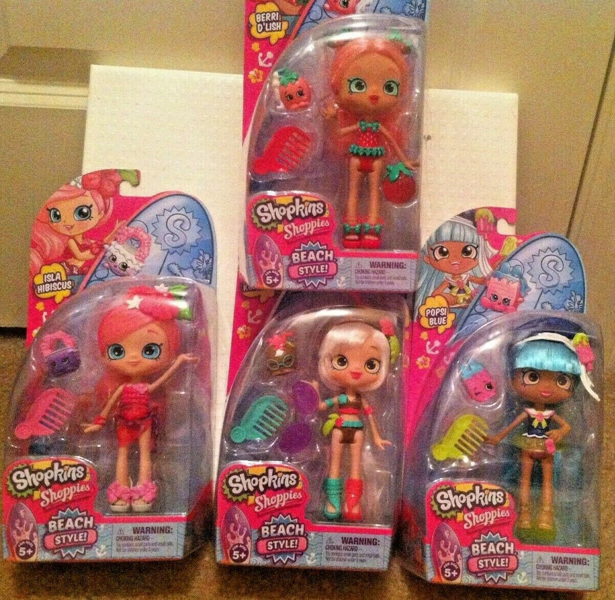 Shopkins Shoppies  Beach Style  Dolls 4 Doll SET-BRAND NEW IN BOX