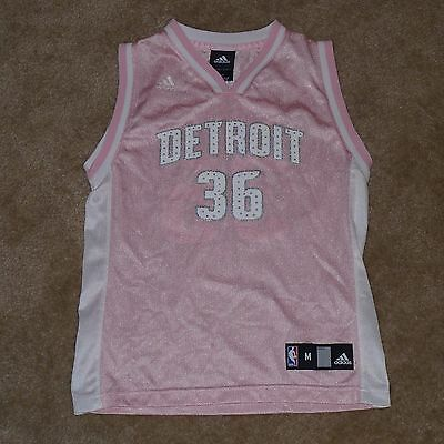 Rasheed Wallace, Detroit Pistons Jersey by Reebok, Women's Medium, Pink, Jeweled