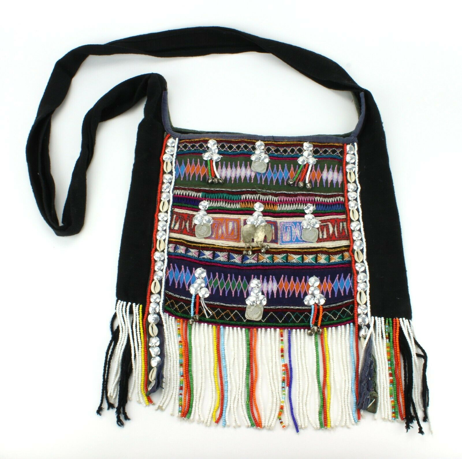 Vintage African Tribal Bohemian Fringe Beaded Bag Purse Hand made Stitched (678)