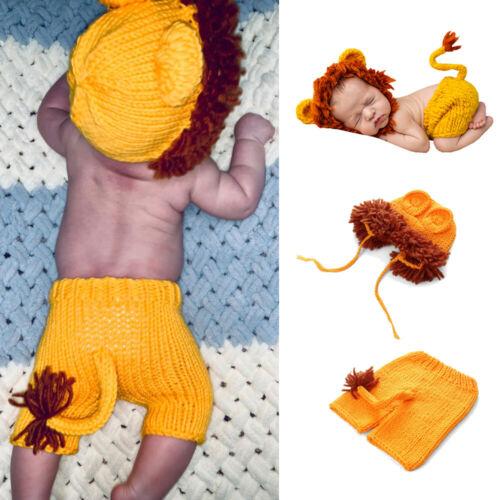 Crochet Newborn Photography Boy Infant Knit Lion Hats Pants Baby Photo Props