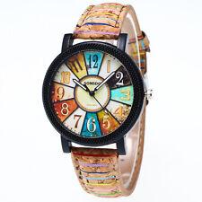 Vintage Women Men Quartz Watch Harajuku Graffiti Leather Band Analog Wrist Watch