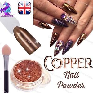 Copper nails powder bronze mirror chrome effect pigment nail art image is loading copper nails powder bronze mirror chrome effect pigment prinsesfo Choice Image