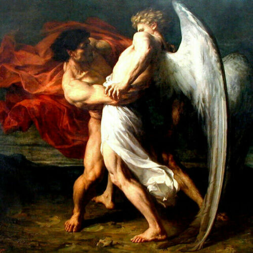 ZOPT1107 naked man/&angel portrait handmade painted art oil painting on canvas