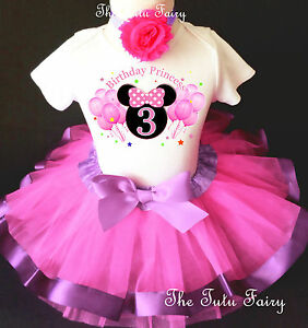 572919367f142 Details about Minnie Mouse Hot Pink Lavender Girl 3rd Third Birthday Tutu  Outfit Set Shirt