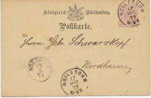 WURTEMBERG-entiers-postaux-1877-5-Pf-Kab-GA-Carte-postale-Parodie-Cadre-rupture-Nordheim