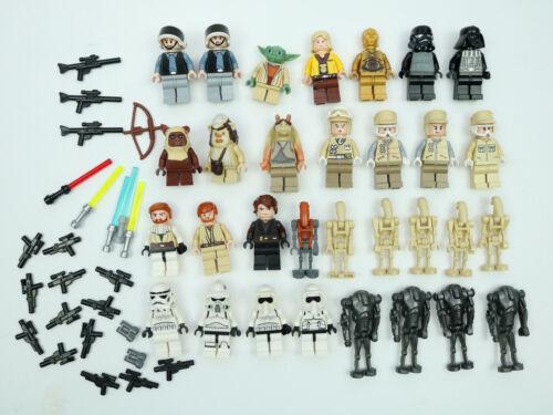 Lego Star Wars 31 Minifigures Skywalker Yoda Dart Wader Troopers Weapons Lot