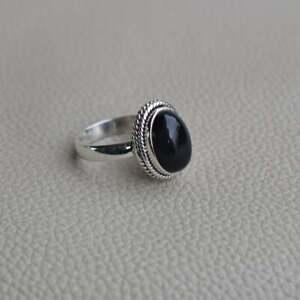 925-Sterling-Silver-Oval-Shape-Black-Onyx-Handmade-Ring-All-Size-KGJ-R-1013