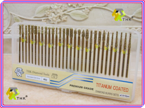 "30 pcs TITANIUM coated THK Diamond rotary burr points 3//32/"" 2.35mm shaft Grit 60"