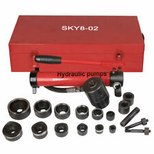 10t Hydraulic Knockout Punch Hand Pump 6 Dies Hole Tool Driver Kit With Metal Case